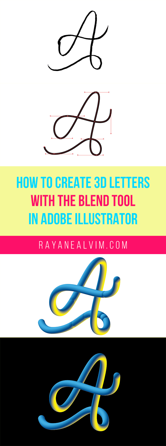 Learn how to create 3D Letters with the Blend Tool in Adobe Illustrator